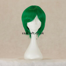 Short layered cosplay wig with fringe in forest green, UK seller, Prince style