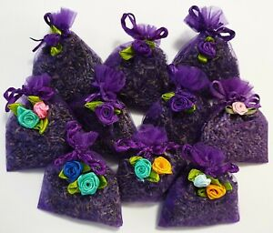 ORGANIC BLUE TASMANIAN LAVENDER IN ORGANZA BAGS. MIXED SET 10 QUALITY PRODUCT