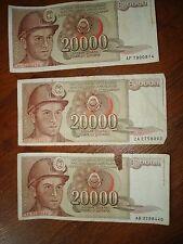 Yugoslavia Lot 3 banknotes of 1 20,000 DINARA 1987