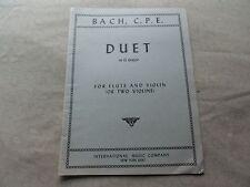 Bach C.P.E. Duet in G Major Songbook Flute & Violin International Sheet Music