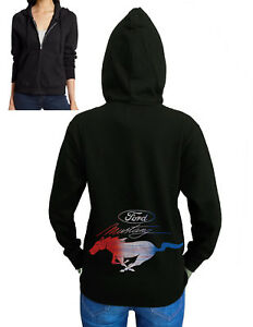 Junior's Ford Mustang Red White & Blue Black Fleece Zipper Hoodie Classic Car GT