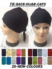 Women Ladies  Under Scarf Hijab TIE BACK Bone  Bonnet Cap 20 Colours Stretchable