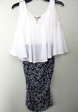kimi + kai Maternity 'Talia' Sleeveless White Blue Floral Stretchy Dress M NWT