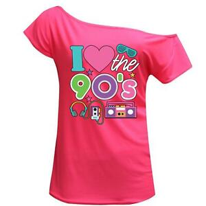 Women I Love The 90s Walkman Off Shoulder Retro Top Stag Night Party Tee 7834