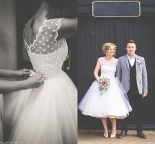 Short White Ivory 1950s Tea Length Polka Dot Wedding Dresses Bridal Gown Vintage