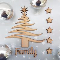 Wooden Christmas Tree 1 Shape blank Crafting Star Arts MDF Stars + Family