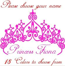 Princess Crown + your Name kids Vinyl, Sticker, Wall Art, Decals, (13 colors)