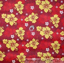 BonEful Fabric FQ Cotton Quilt Red Yellow Hawaiian Flower Elvis Island Tropical