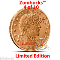 "2014 COPPER ZOMBIE BULLION ""THE BARBER"" Z2 ZOMBUCKS ROUND 1 OZ .999 FINE 4 of 10"