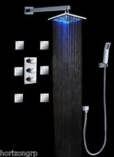 "Luxury Shower Set w/ 8"" LED Shower Head Thermostatic 6 Massage Spray Body Wall"