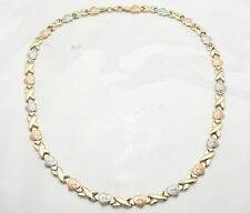 Diamond Cut Hearts & Kisses Chain Necklace Real 14K Yellow White Rose Pink Gold