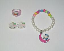 Lot Bague + Boucles d'oreille + Bracelet Hello Kitty Lune Rose