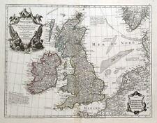 BRITISH ISLES, UK, Great Britain, De L'Isle original antique map 1800
