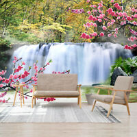 3D Forest Waterfall Self-adhesive Living Room Wallpaper Bedroom Wall Murals