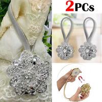 2Pcs Home Magnetic Crystal Curtain Tiebacks Tie Backs Buckle Clips Holdbacks