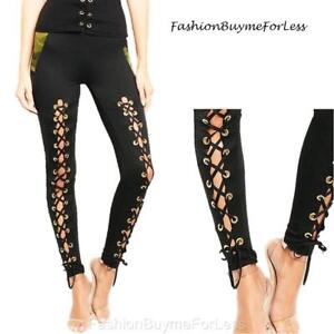 Sexy Gothic Punk Eyelet Cut-out Laced Ponte Jersey Skinny Leggings Pants S M L