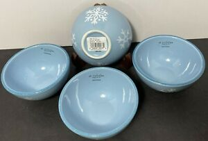 "St Nicholas Square WINTER FROST 4.75"" Oatmeal Bowl SET 4 Blue w/ Snowflakes NEW"