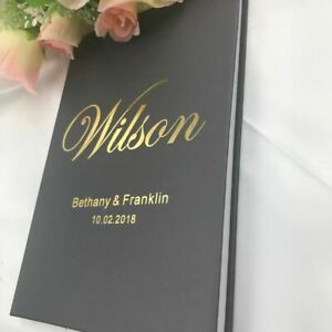 Personalizde Gold Wedding GuestBook Custom Name And Date Wedding Rustic A5 Size