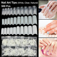 500 Tips Acrylic UV Gel French False Half Artificial Nail Art Tip Natural White