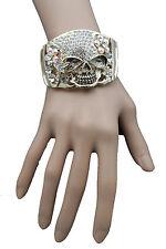New Women Gold Metal Cuff Bracelet Pirate Skeleton Skull Halloween Bling Jewelry