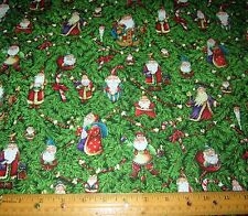 1 yard SANTA and CANDY CANES with METALLIC on GREEN 100% Cotton Fabric CHRISTMAS