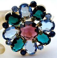 Vintage Green Blue & Purple Rhinestone Brooch Large Round Gold Tone Pin Jewelry