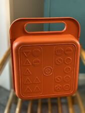 More details for vintage 1980's orange made in france tupperware lunch box/road safety theme/rare