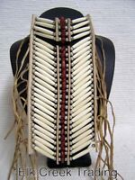 HANDCRAFTED NATIVE AMERICAN STYLE REGALIA HAIRPIPE SMALL IVORY/RED BREASTPLATE