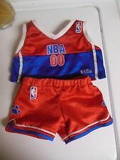 NBA Build A Bear BABW basketball uniform shorts top 2pc lot boy girl clothes red
