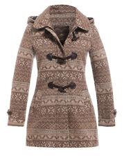 New Womens Wool Coat Ladies Duffle Winter Jacket Size 8 10 12 14 16 Brown Coats