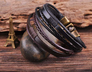 2PC S535 NEW Leather Hemp Bracelet Wristband Mens Cuff Bronze Clasp Black&Brown