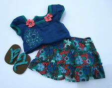 """American Girl 15"""" Bitty Baby Twins 2011 Tropical Skirt Top & Sandals *Sweet Set"""