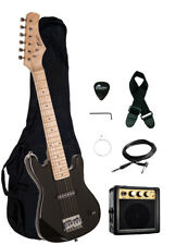 "Raptor 30"" Kids 1/2 Size BLACK Electric Guitar Package with Amp, Gig Bag, Strap"