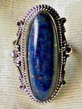 STERLING SILVER UNIQUE LAPIS  40mm.x 20mm.CABOCHON  RING UK size.N  £35.95 NWT