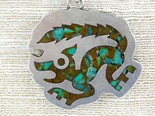 RCA Taxco Mexico Crushed Inlay Turquoise Coyote Pendant Necklace on Chain 925