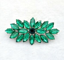 Vintage Style Large Size Emerald Green Flower Wedding Bouquet Brooch Pin
