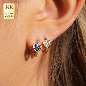 14K Real Solid Gold CZ Heart Huggie Hinge Hoop Earrings Cartilag PiercingJewelry