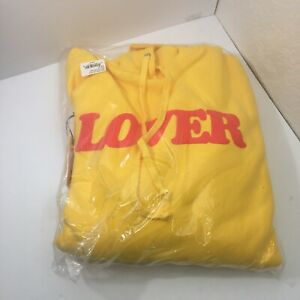 Bianca Chandon Yellow LOVER Pullover Flames Hoodie Medium NWT NEW DEADSTOCK NOS