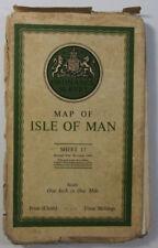 1942 OS Ordnance Survey Popular Edition Style One Inch Map 17 Isle of Man