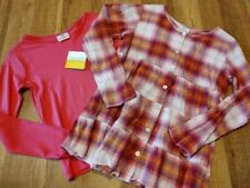 Hanna Andersson SHIRT LOT sz 10 140 Girls Pink Solid Plaid Long Sleeve Tops
