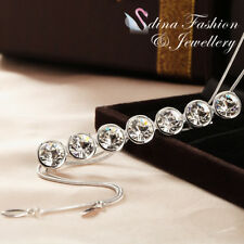 18K White Gold Filled Made With Swarovski Crystal Round Strip Drop Long Necklace