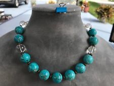 HDMD by Cyndi Necklace Turquoise Mangesite Rough Rounds and Clear Quartz Crystal