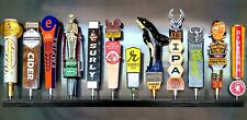 Lot of 2 12 BEER TAP HANDLE DISPLAY BLACK WALL MOUNTED INCLUDES BRACKETS holds24