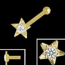 750 Gold Nasenpiercing Stern 3,2 mm mit Zirkonia  Nasenstecker Kugelstift