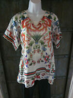 Johnny Was Womens Size L Multi Color Ivory Silk Poncho Blouse Tunic Top SS Shirt