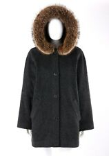 Vtg Isaac Mizrahi c.1990's Gray Mohair Raccoon Fur Hooded Parka Jacket Coat 8