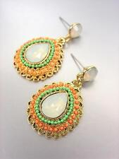 FAB CHIC Urban Artisanal Opal Crystals Coral Turquoise Beads Gold Earrings