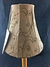 Set of 2 Brown Fabric Chandelier Lamp Shades New Beaded 3x6x6.25  (A18)