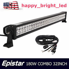 """32"""" 180W LED Light Bar Off road Driving Fog Light Combo with Wiring Harness QQ"""
