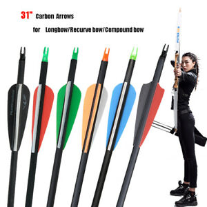 """12pcs Archery Hunting 31"""" Carbon Arrows Shaft 7.8mm Fletching Target Practice"""